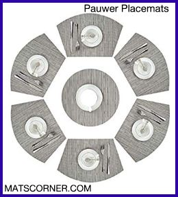 PAUWER Silver Grey Wedge Modern Placemats for Round Table