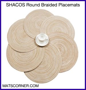 SHACOS Round Braided Placemat Set - Best Placemats for Wood Table