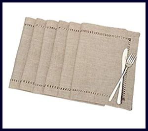 Grelucgo Handmade Hemstitched Rectangle Placemats