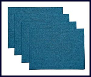 Solino Chambray Teal Handcrafted Set of 4 Placemats