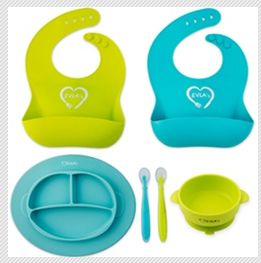 Evla's Baby Feeding Set - Toddler Divided Plates with Lids