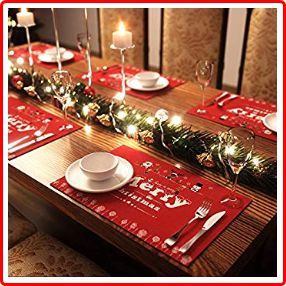 AMFOCUS Merry Christmas Placemats with Reindeer, Santa, and Snowman Print