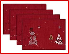 DII Christmas Embroidered Placemats